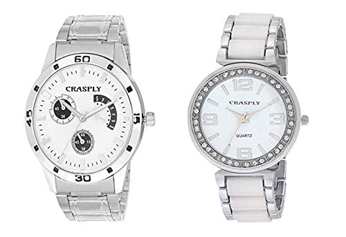 7060db3b7f Buy Crasply Analogue White Dial Silver Couple Watch for Men and Women (Combo  Pack) Online at Low Prices in India - Amazon.in