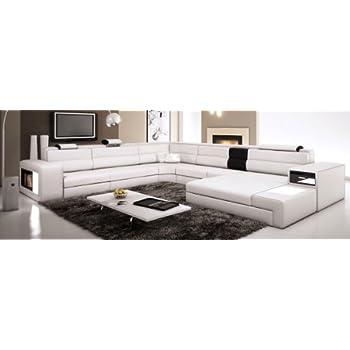 Amazon.com: White Contemporary Italian Leather Sectional ...