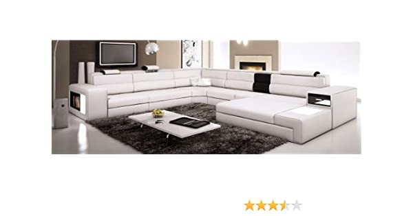 Amazon Com Used Sofas Couches Living Room Furniture >> White Contemporary Italian Leather Sectional Sofa