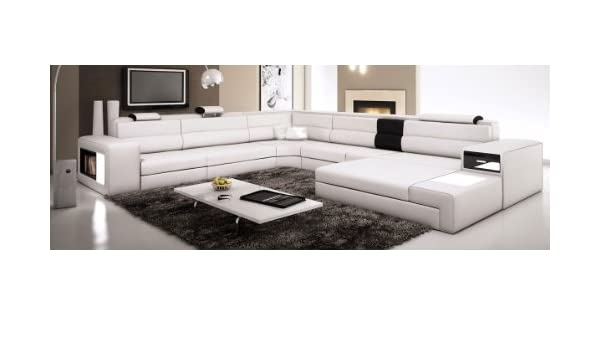 Amazon.com: Modern Italian Design Ivory Sectional Sofa ...