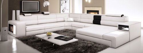 White Contemporary Italian Leather Sectional Sofa ()