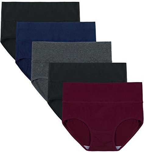 Innersy Women's 5 Pack High Waist Tummy Control Solid Color Cotton Briefs Panties (XL, Darks 1) ()