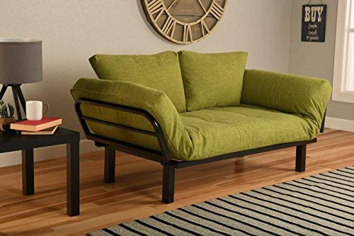 Kodiak Best Futon Lounger Sit Lounge Sleep Smaller Size Furniture is Perfect for College Dorm Bedroom Studio Apartment Guest Room Covered Patio Porch (Lime Green Linen) ()