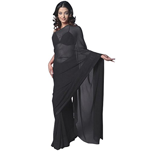 Chiffon Bollywood BellyDance Indian Saree Sari - Black