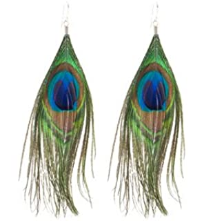 Large Peacock Feather Drop Earrings, Silver finish hooks