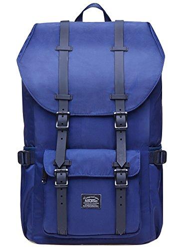 "KAUKKO Laptop Outdoor Backpack, Travel Hiking& Camping Rucksack Pack, Casual Large College School Daypack, Shoulder Book Bags Back Fits 15"" Laptop & Tablets (2Nylon Blue)"