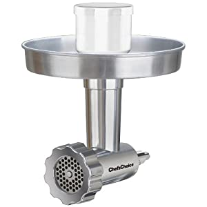 Chef's Choice 7965001 796 Premium Stainless Steel Food Grinder Attachment Designed for KitchenAid Stand Mixers, 2 Grinder Plates Included. Dishwasher Safe