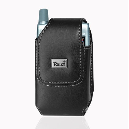 Leather Pouch Protective Carrying Cell Phone Case for Casio Hitachi Brigade C741 / HTC Touch Pro HTC Touch Pro2 / Motorola Brute i680 Krave ZN4 Quantico V840 / W845 / NOKIA N75 / PANTECH C740 (Matrix) / SANYO PRO700 / SHARP TM150 / SIEMENS CF62 / PALM TREO 650 680 / KYOCERA KX2 KX5 - Black (Cf62 Case)