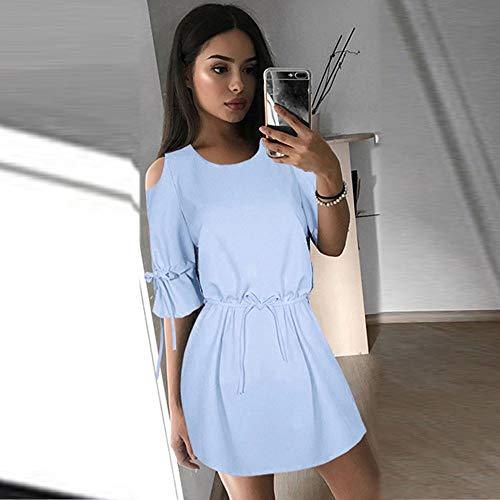 Vestito Donna LEvifun Spalline Mezza Party Blu Elegante Donna Mini Senza Abito Lungo Vestiti Elegante Sexy Serale da Manica Solido Cerimonia Spalla SrS1Hq6Pz