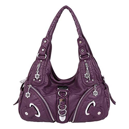 (Handbag Hobo Women Bag Roomy Multiple Pockets Street ladies' Shoulder Bag Fashion PU Tote Satchel Bag for Women (11282 purple))