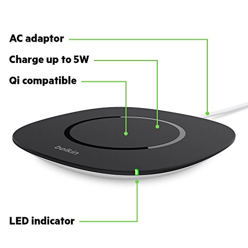 Belkin Boost up Qi (5 W) Wireless Charger iPhone X, iPhone 8 Plus, iPhone 8, Samsung Galaxy S9+/S9 Other Qi Enabled Devices (Qi-Certified Inductive Charging Pad) AC Adapter Included, Black by Belkin (Image #2)