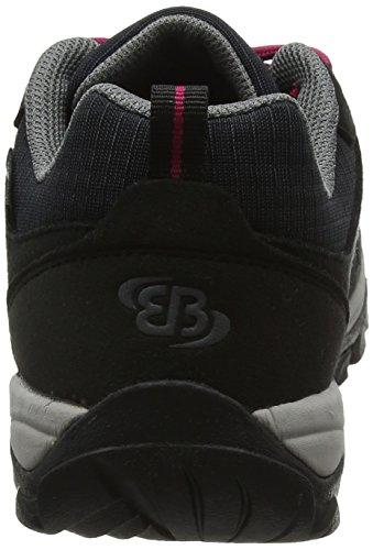 Bruetting Women's Mount Frakes Low Rise Hiking Boots, Black/Pink Black (Schwarz/Pink Schwarz/Pink)