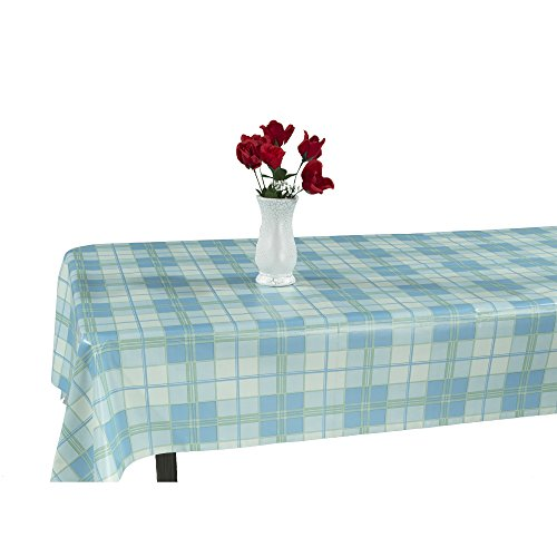 "55"" X 70"" Vinyl Tablecloth Plaid Design Indoor/Outdoor Tablecloth with Non-Woven Backing"