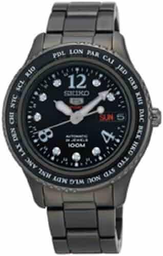 Seiko 5 Automatic Black Dial Black PVD Ladies Watch SRP371