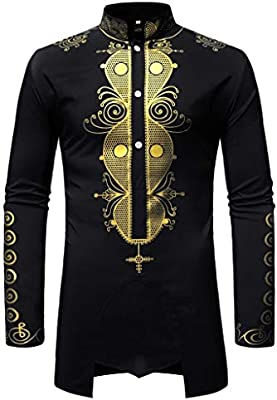 VITryst-Men Long-Sleeve Casual Stand Collar Gilded African Style T-Shirt Dress Shirts