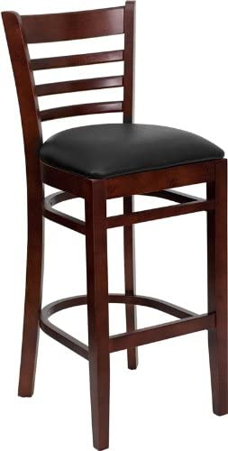 Mahogany Finished Ladder Back Wooden Restaurant Bar Stool