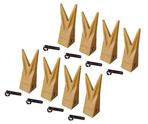 8 Backhoe Bucket Twin Tiger Teeth w Pins, Fits Caterpillar J200-1U-3202WTL