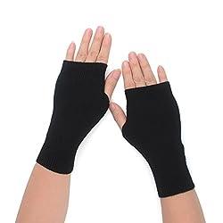 Flammi Women S Knit Fingerless Gloves Cashmere Mittens Warm Thumb Hole Gloves Black