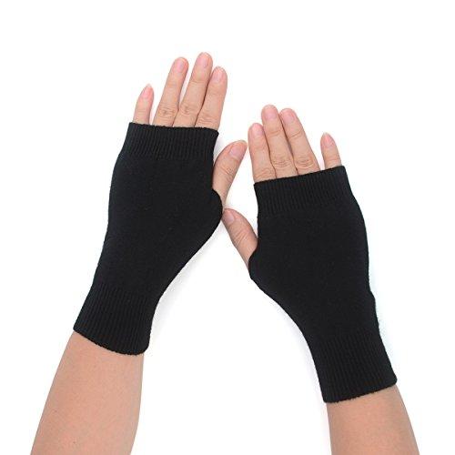 Flammi Women's Knit Fingerless Gloves Cashmere Mittens Warm Thumb Hole Gloves (Black)