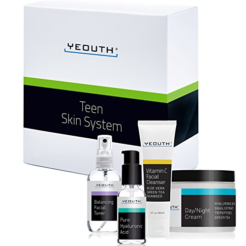 YEOUTH Teen Skin Kit Starter Set – Anti Aging Beauty Essentials – Vitamin C Facial Cleanser – Balancing Facial Toner for Face – Pure Hyaluronic Acid Serum – Day and Night Snail Cream Moisturizer For Sale