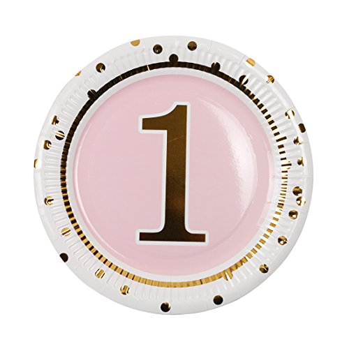 Geeklife 1st Birthday Girl Gold Paper Plates,Cute Pink Birthday Party Plates, 20 PCS Lively Decorative Paper Plates - Plates 1st Birthday Paper