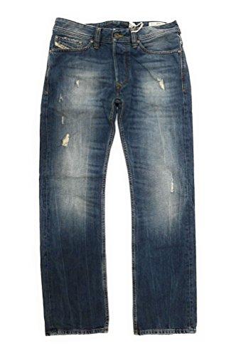 Diesel Distressed Jeans (Diesel Viker Regular Straight 0RBE4 Distressed Destroyed Button Fly Denim Jeans 30
