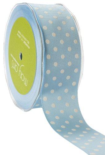 May Arts 1-1/2-Inch Wide Ribbon, Light Blue Grosgrain Polka Dot