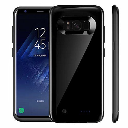 Galaxy S8 Plus Battery Case,WONFAST Portable 5000 mAh Rechargeable External Battery Charger Protective Charging Case Juice Pack Power Bank Cover for Samsung Galaxy S8 Plus (2017) (Black)
