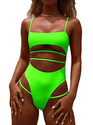 MOPOOGOSS Womens High Waist One Piece Swimsuit High Cut Bikini Solid Color Push up Padded Strappy Cutout Cheeky Summer Swimwear Monokini Fluorescent Green - Fluorescent Body Yellow