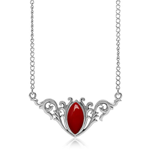 Created Red Coral 925 Sterling Silver Baroque Inspired Pendant w/ 16-18