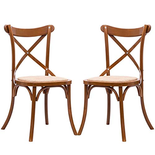 AK Energy 2 PC Office Cafeteria Rattan Bar Cross Back Chair Solid Wood Frame Home Dining Room Chair (Cross Leather Chairs Dining)