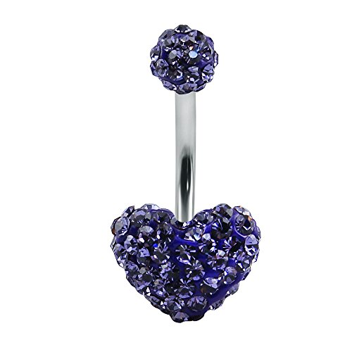 Shiny Multi Crystal Double Sweet Heart Ball Belly Button Ring Navel Ring Body Jewellery (Sweetheart Shaped Crystal)