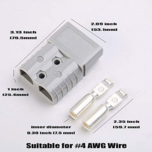 Mr.Brighton LED 175Amp Anderson Compatible 2 Pole Power Connector Plug Grey w//Terminals for #1//0 AWG Wire 2 housing+4 Terminal pins