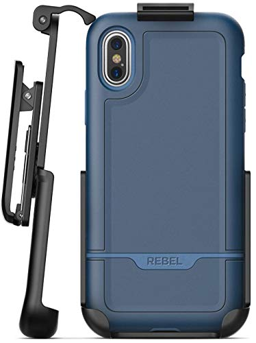 Heavy Duty iPhone Xs MAX Belt Clip Case Blue - Encased Ultra Protective Full Body Rugged Cover with Rotating Holster (2018 Rebel Series) (Best Cds To Invest In 2019)