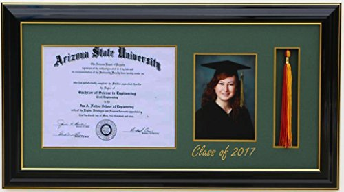 H-Diploma 8x6 Tassel 5x7 Picture Frame 2017 Black/Green (Customizable)