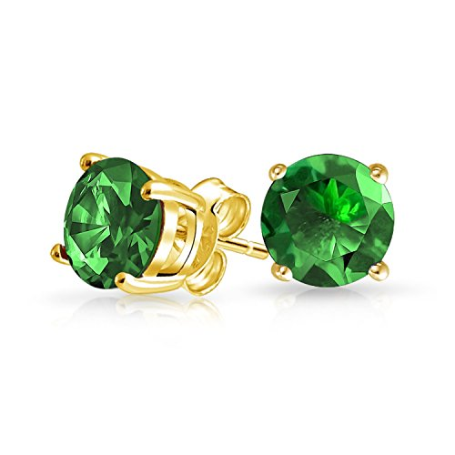 (1Ct Green Round Cubic Zirconia Brilliant Cut Solitaire AAA CZ Stud Earrings Gold Plate Sterling Silver Simulated Emerald)