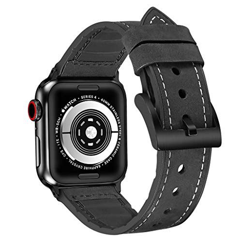 Haluoo Leather Sports Band Compatible with Apple Watch Series 4 44mm, Vintage TPU Leather Dressy Wristband Adjustable Replacement Straps Bracelet for iWatch Series 4 44mm Men Women (Black)