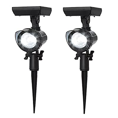 Set of Adjustable Weather-Proof Solar Bright White LED Black Spot Lights with Garden Stakes