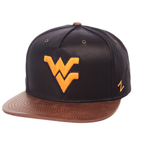 - ZHATS NCAA West Virginia Mountaineers Adult Men Tribute Heritage Collection Hat, Adjustable, Team Color/Cracked Leather