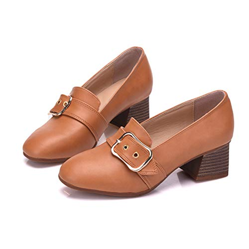 2018 Luxury Women High Heels Loafers Genuine Leather Boat Shoes Lady Buckle Square Heel Shoes Fashion Slip On Footwear Brown Pumps 10