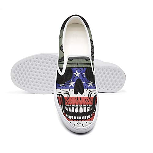 KJGDFS Soldier Skull American Flag Leather Shoes Popular Slip on for - Soldier American Shoes