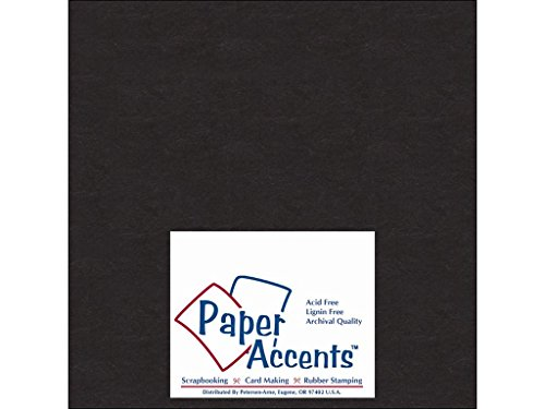 Accent Design Paper Accents ADP808-25.127CB 1X Heavy 50 Point 8'' x 8'' Black Chipboard Card Stock by Accent Design Paper Accents
