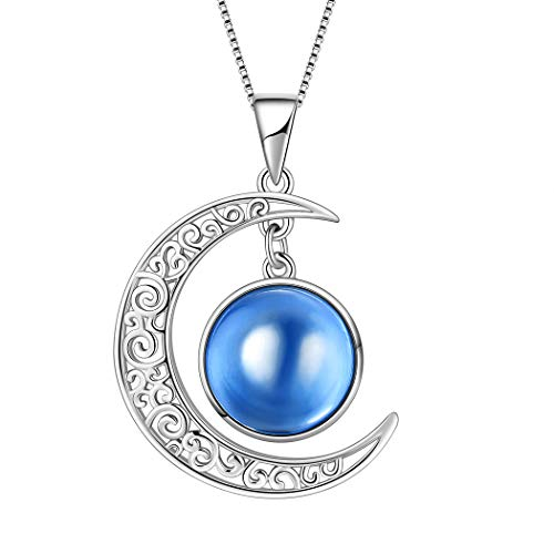 Aurora Tears September Birthstone Necklaces Women 925 Sterling Silver Crescent Moon Pendants Birthday Jewelry Gifts Birthstones Necklace DP0091S