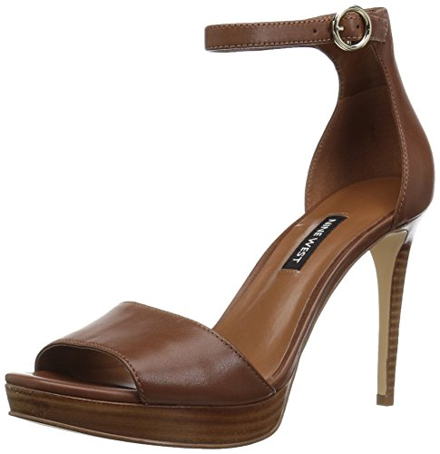 Nine West Women's Querrey Leather Heeled Sandal, Brown, 9 M US - West Brown Leather