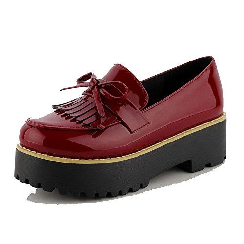 VogueZone009 Damen PU Leder Mittler Absatz Rund Zehe Fransig Ziehen auf Pumps Schuhe Rot