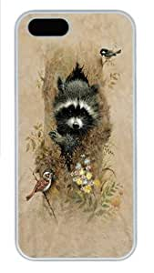 Children's Wee Raccoon Polycarbonate Hard Case Cover for iPhone 5/5S White by mcsharks