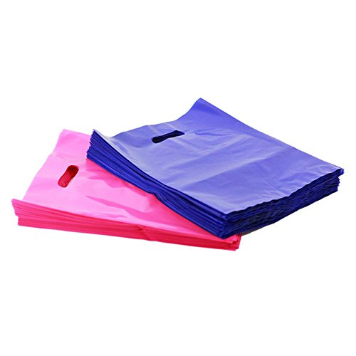 "200 9"" X 12"" Pink and Purple Merchandise Bags, Die Cut Handles, No Gusset, 1.7 Mil. Strong, Durable, and Tear Resistant Bags Perfect for Retail, Boutiques, or Any Events"
