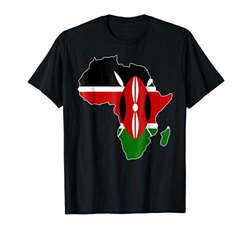 Mens Kenyan Pride I love Kenya flag map Africa map t-shirt Large Black (Africa Map T-shirt)