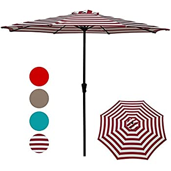Patio Umbrella,Outdoor Table Market Striped Umbrella With Push Button  Tilt/Crank, Red And White Stripes By COBANA