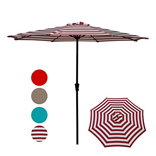 COBANA Patio Umbrella,Outdoor Table Market Striped Umbrella with Push Button Tilt/Crank, Red and White Stripes by COBANA